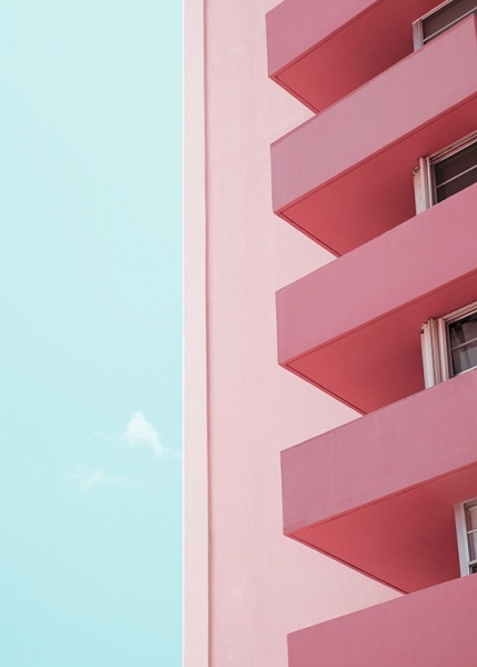 Pink Balconies Poster en el grupo Studio Collections / Studio Coast to Coast / Miami con Desenio AB (10770)