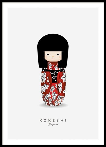 Kokeshi Doll Red Poster en el grupo  Pósters / Pósters infantiles con Desenio AB (11454)