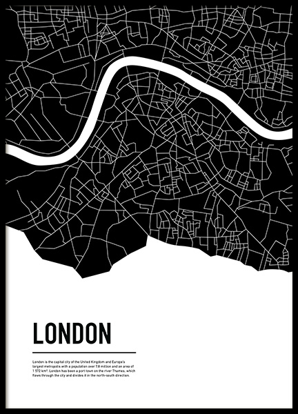 Graphic City Map London Poster en el grupo  Pósters / Mapas y ciudades con Desenio AB (11936)