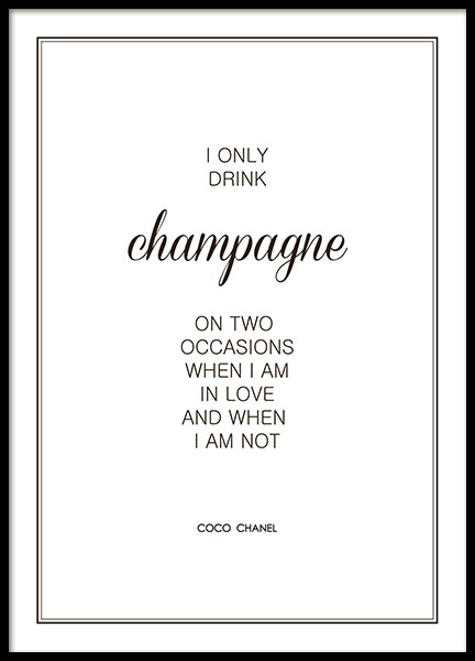 Póster 'I only drink champagne' de Chanel