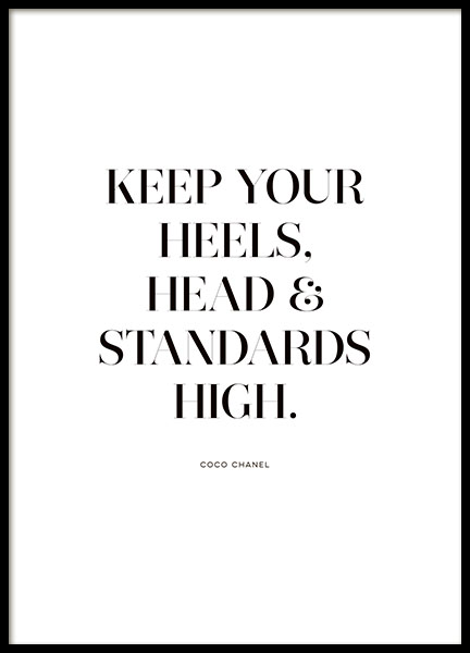 Print, póster con la cita 'Keep your heels and standards high'