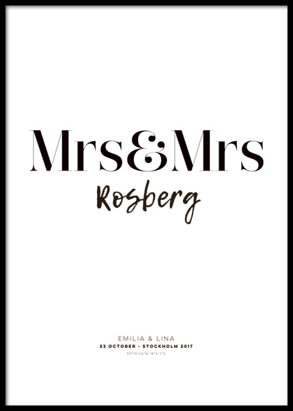 Mrs and Mrs Personal Poster en el grupo  Pósters / Pósters personalizados con Desenio AB (pp0012)