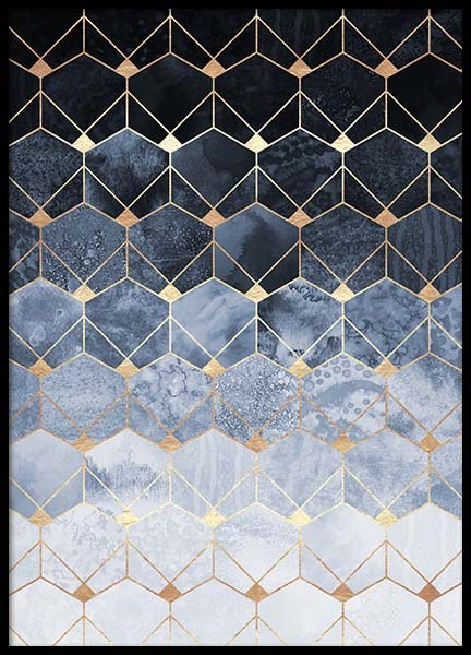 Blue Hexagons And Diamonds Poster en el grupo  Pósters / Handpicked / Elisabeth Fredriksson con Desenio AB (pre0018)
