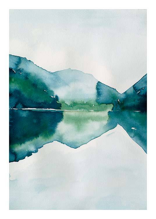 Watercolor Mountain Reflection Poster / Arte con Desenio AB (10123)