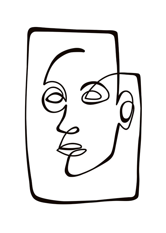 Abstract Line Portrait Poster / Blanco y negro con Desenio AB (10838)