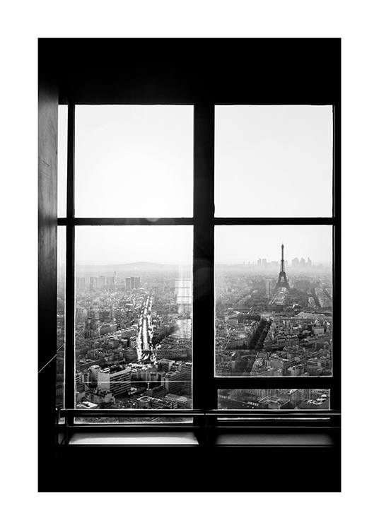 View of Eiffel Tower Poster / Blanco y negro con Desenio AB (12295)