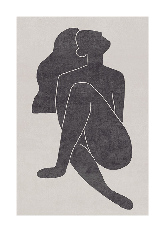 Seated Pose Black No1 Poster / Ilustraciones con Desenio AB (13801)