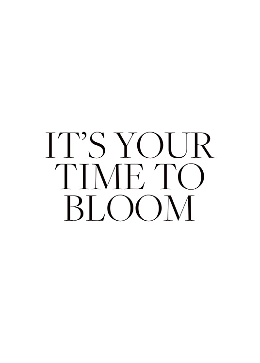 "– Póster con una frase dice ""It's your time to bloom""."