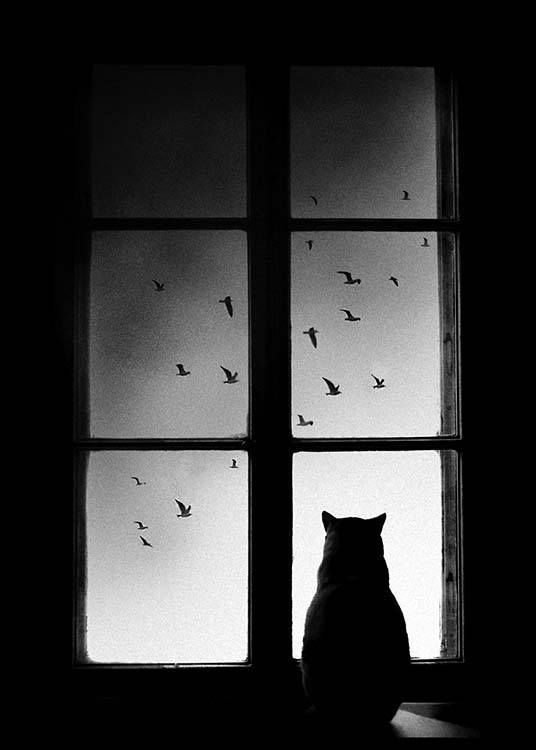 Cat In Window Poster / Blanco y negro con Desenio AB (2675)