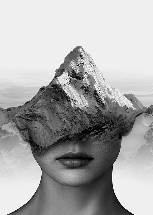 Mountain Thoughts Poster / Blanco y negro con Desenio AB (3710)
