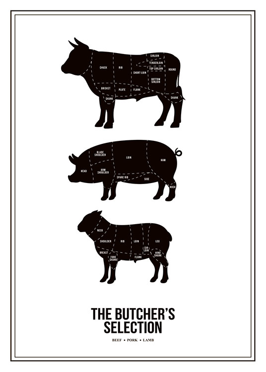 Butchers Selection, Poster / Blanco y negro con Desenio AB (7974)
