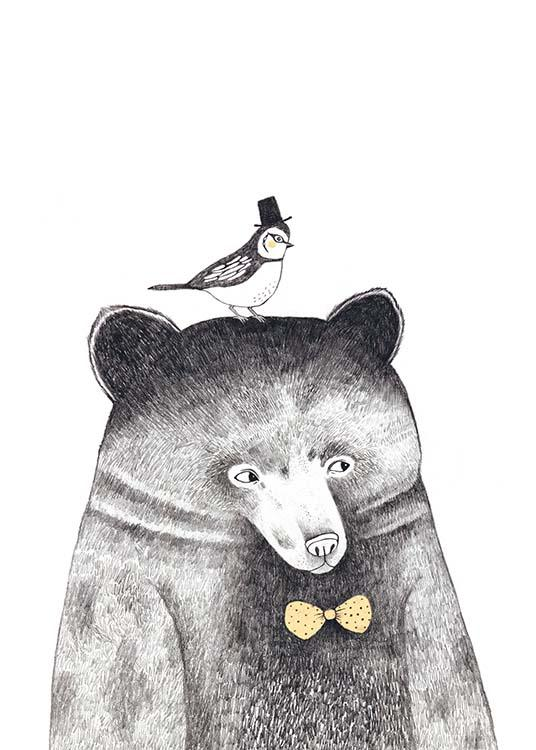 Bird And Bear, Poster / Pósters infantiles con Desenio AB (8102)