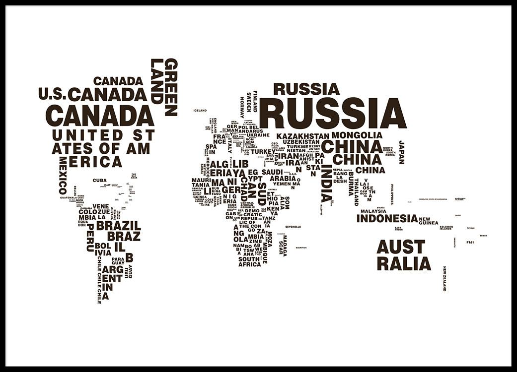 World map text poster print con mapamundi y texto psters en blanco y negro y print gumiabroncs Image collections