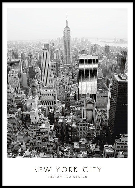Poster con new york cuadro con fotograf a en blanco y negro laminas for Poster de porte new york