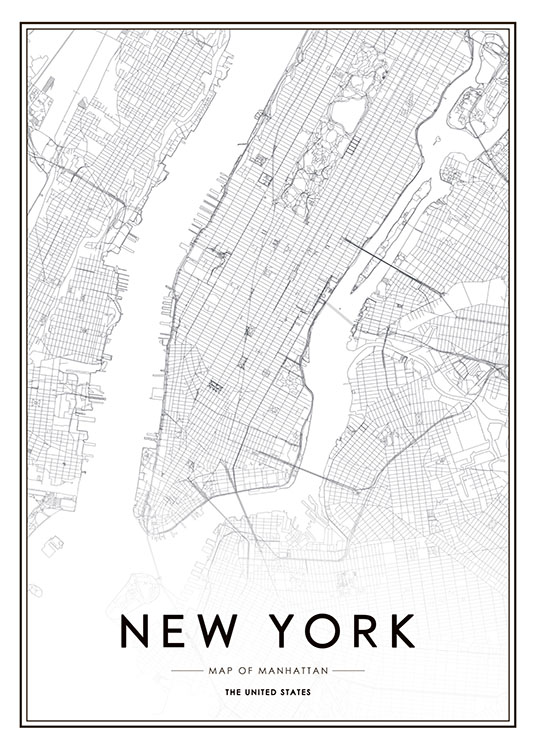 New York Map Poster / Blanco y negro con Desenio AB (8128)
