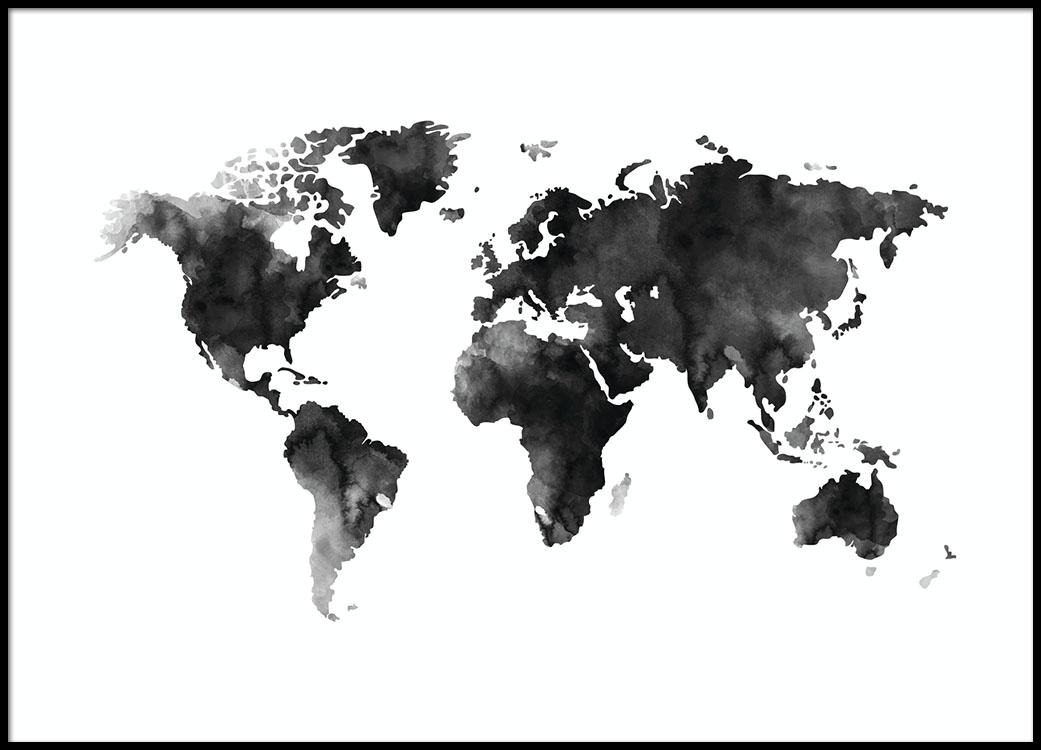 Poster en blanco y negro de mapamundi a la acuarela gris de desenio world map watercolor poster en el grupo psters tamaos 70x100cm con desenio ab gumiabroncs Image collections