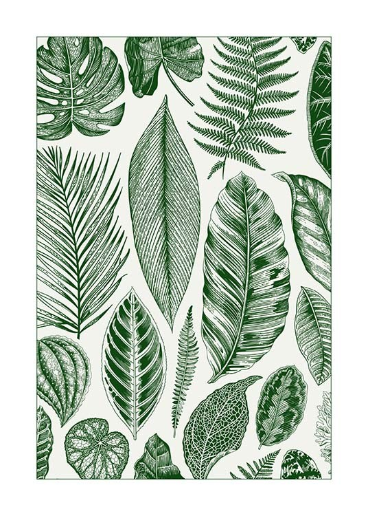 Green Leaves Poster / Arte con Desenio AB (8782)