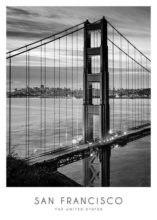 Golden Gate Bridge Poster / Blanco y negro con Desenio AB (8920)
