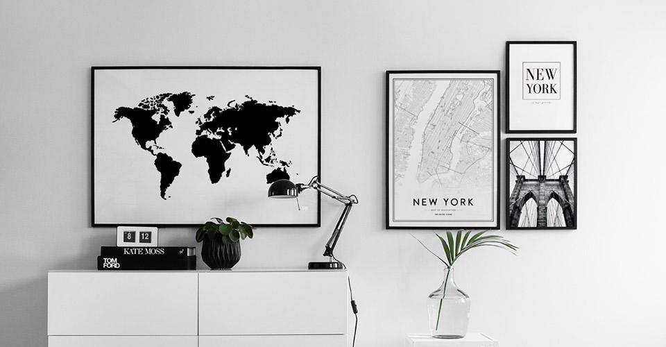 Cuadros y láminas con mapamundis y ciudades | Mapa de Nueva York ...